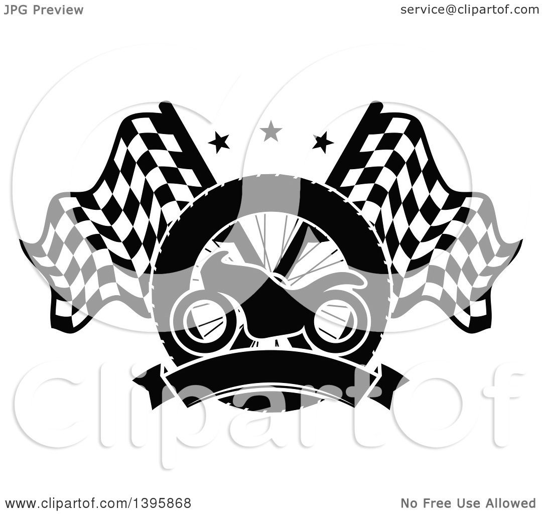 Clipart of a Silhouetted Motorcycle Tire, Blank Banner and Crossed ... for Racing Tire Vector  111ane