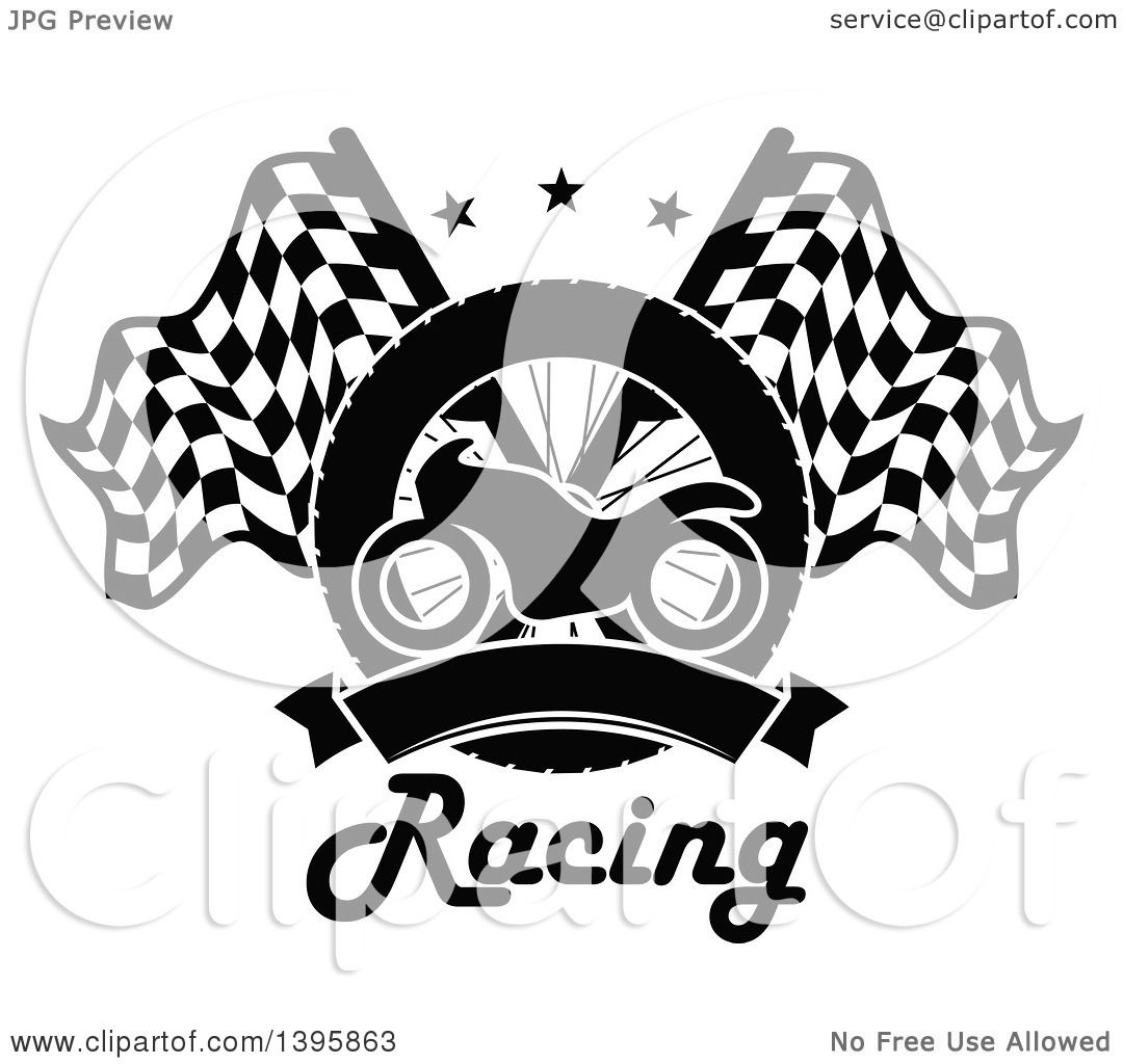Clipart of a Silhouetted Motorcycle Tire, Blank Banner, Text, and ... for Racing Tire Vector  143gtk