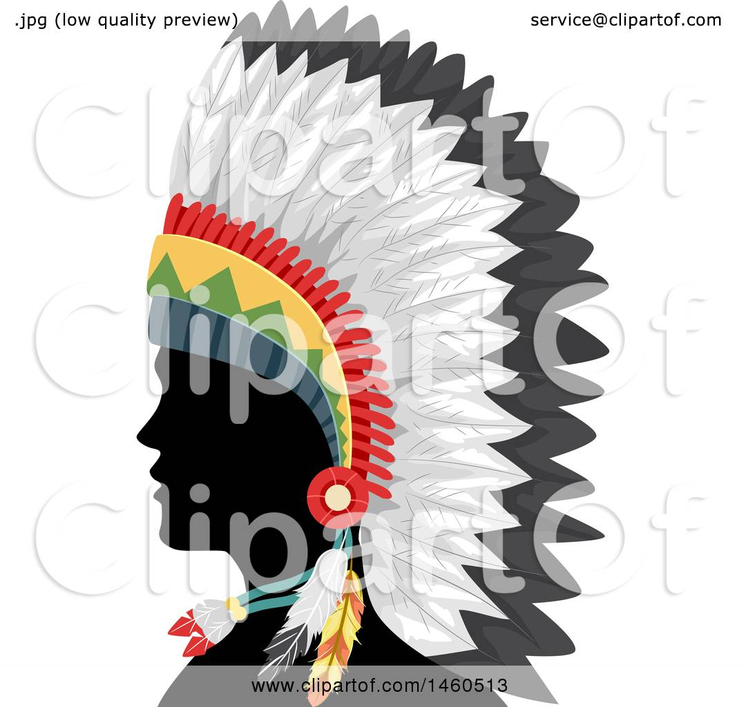 clipart of a silhouetted native american indian man in a feather rh clipartof com  indian headdress clipart black and white