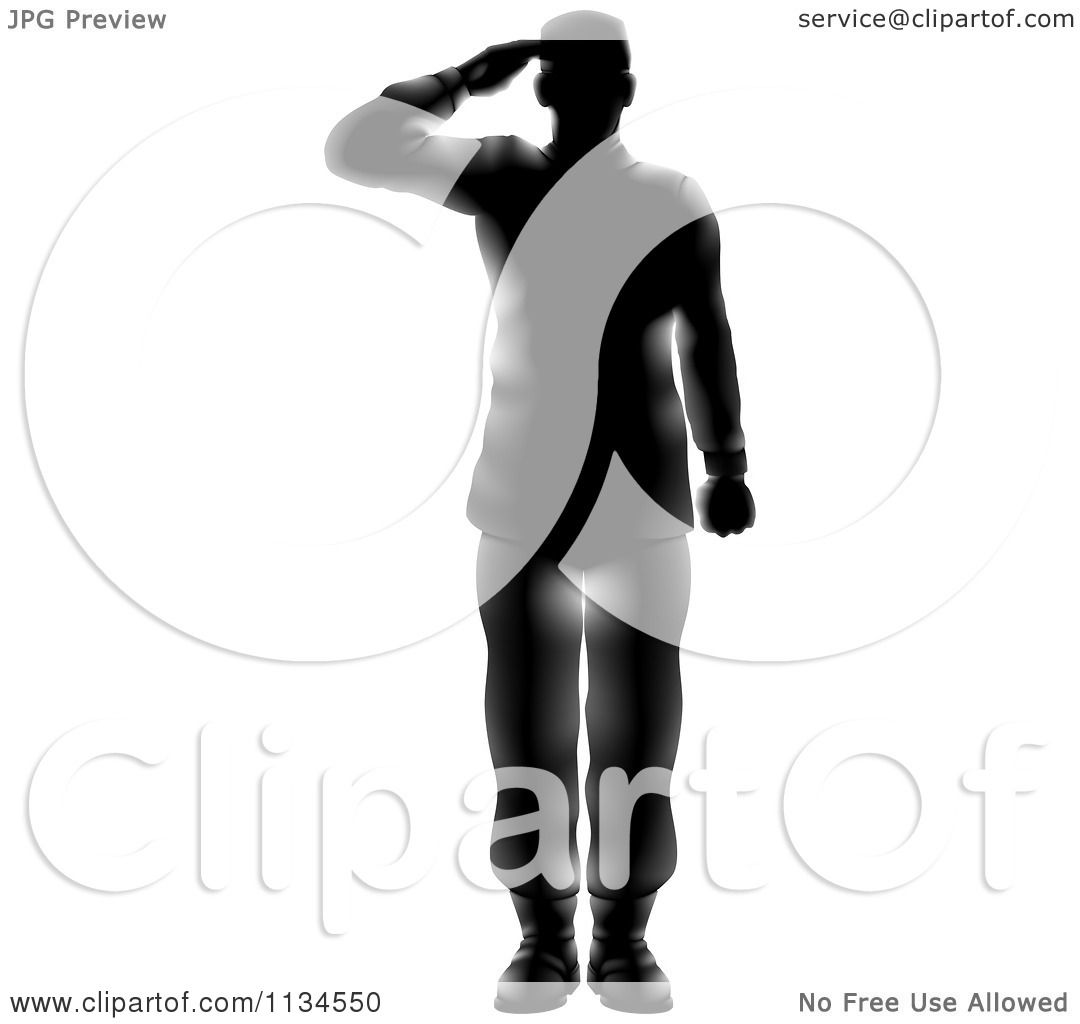 Clipart Of A Silhouetted Saluting American Military Soldier With Light ...