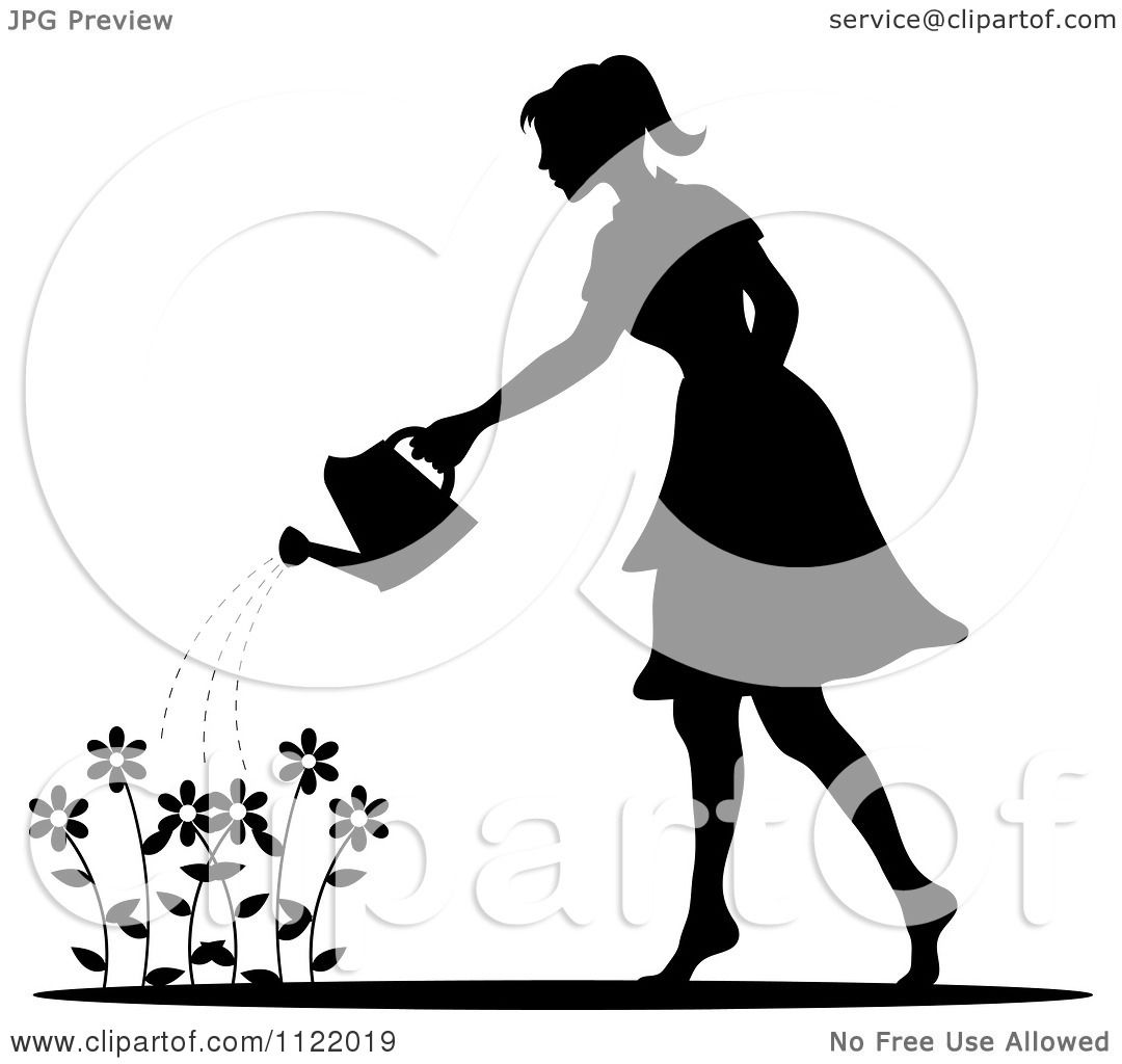 clipart of a silhouetted woman watering a flower garden