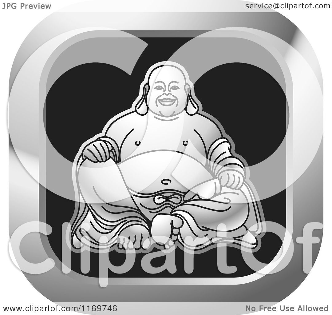 Clipart of a Silver and Black Square Laughing Buddha Icon - Royalty ...