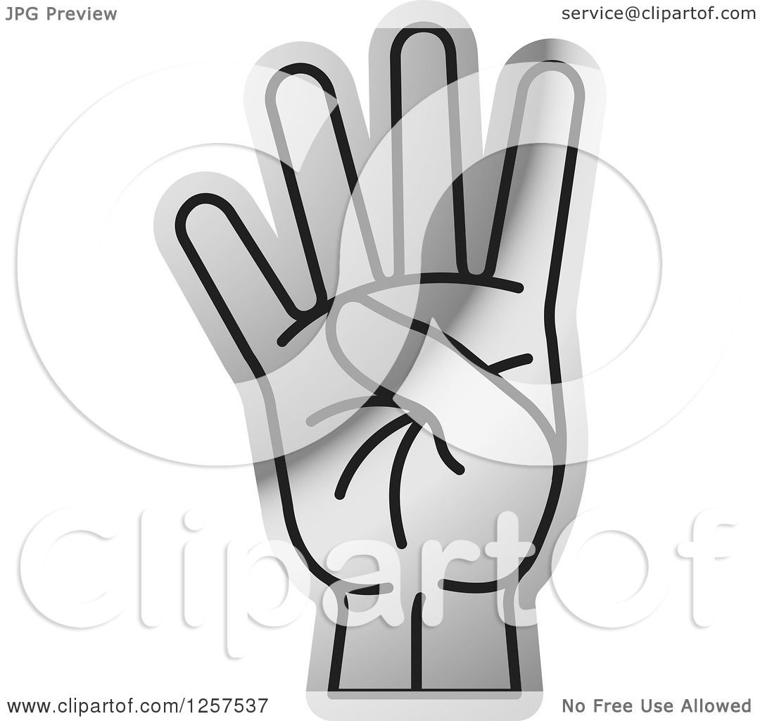 Clipart of a Silver Counting Hand Holding up 4 Fingers ...