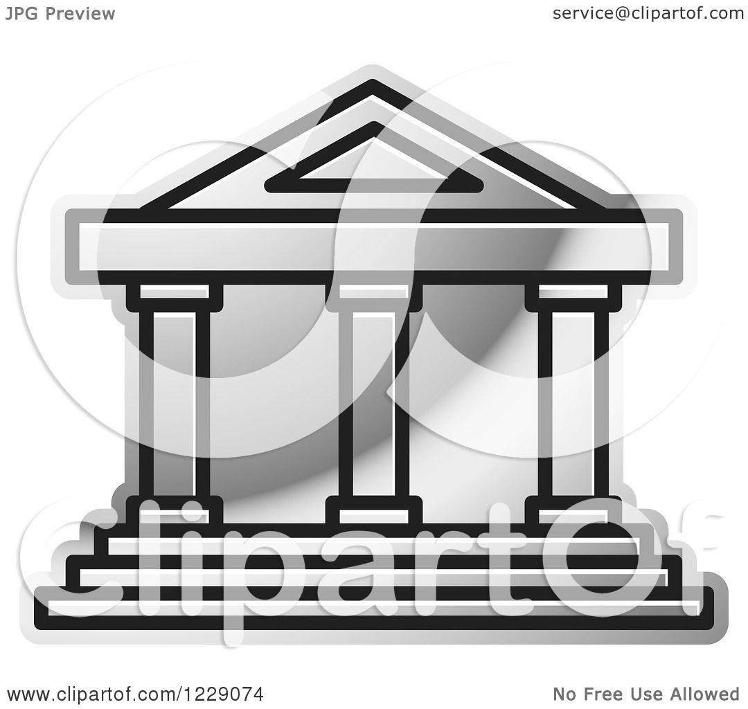 Clipart of a Silver Court House Building Icon - Royalty Free ...