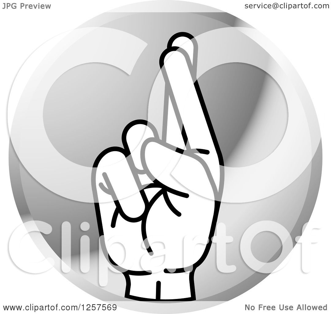 clipart of a silver icon of a sign language hand gesturing letter r royalty free vector illustration by lal perera