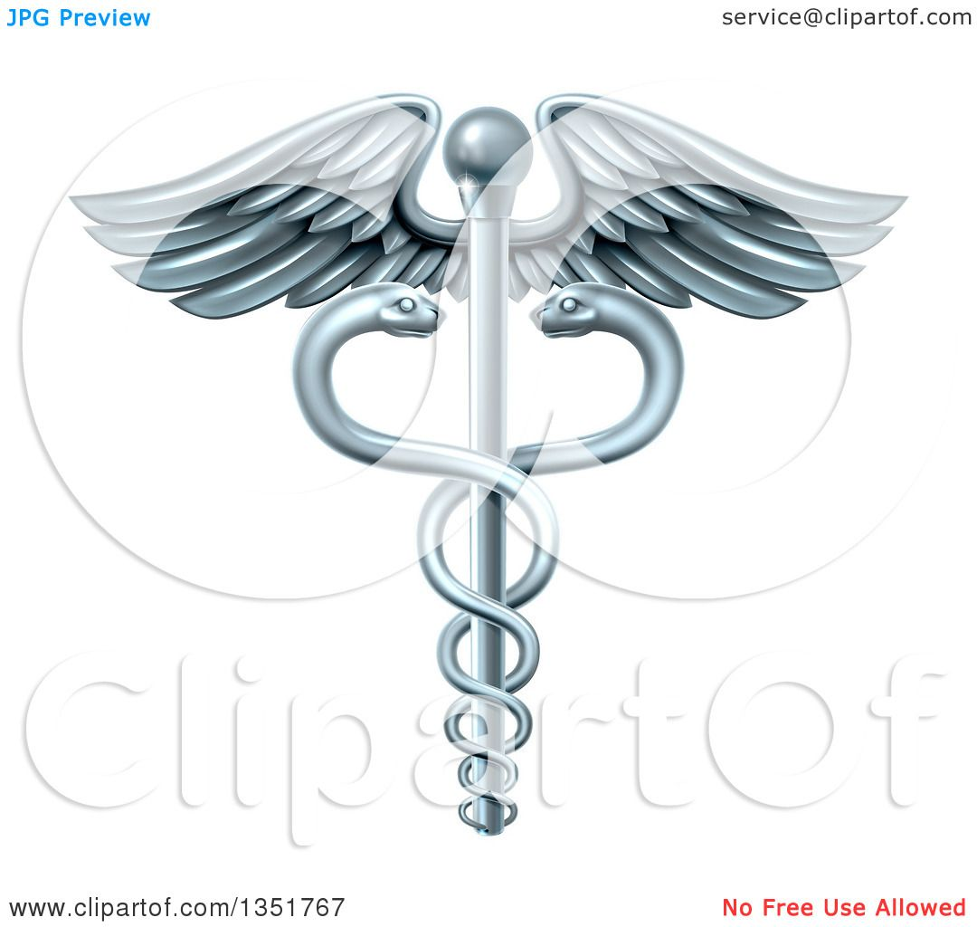 Clipart Of A Silver Medical Caduceus With Snakes On A