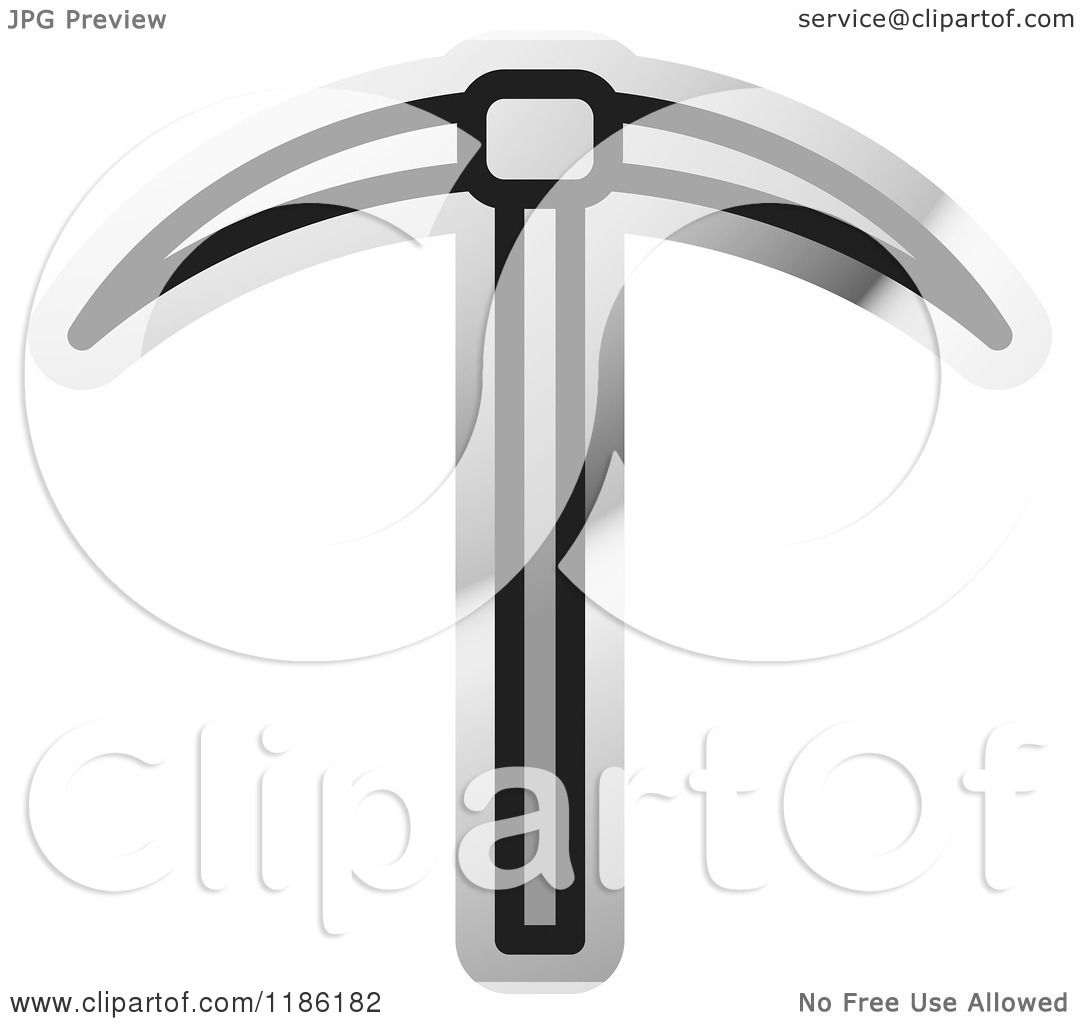 Clipart of a Silver Mining Pickaxe Tool Icon - Royalty Free Vector ...