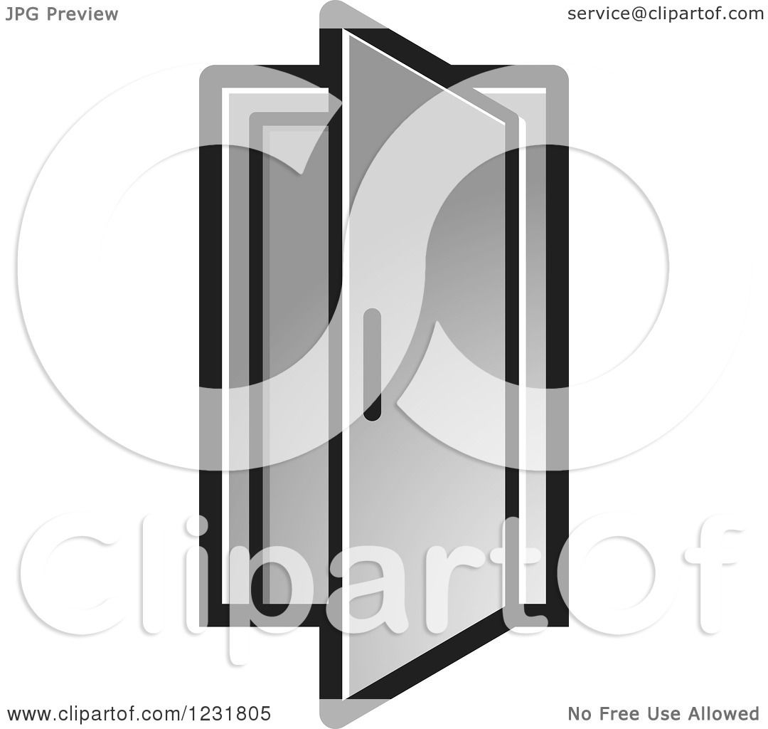 open door clipart black and white. Clipart Of A Silver Open Door Icon - Royalty Free Vector Illustration By Lal Perera Black And White N
