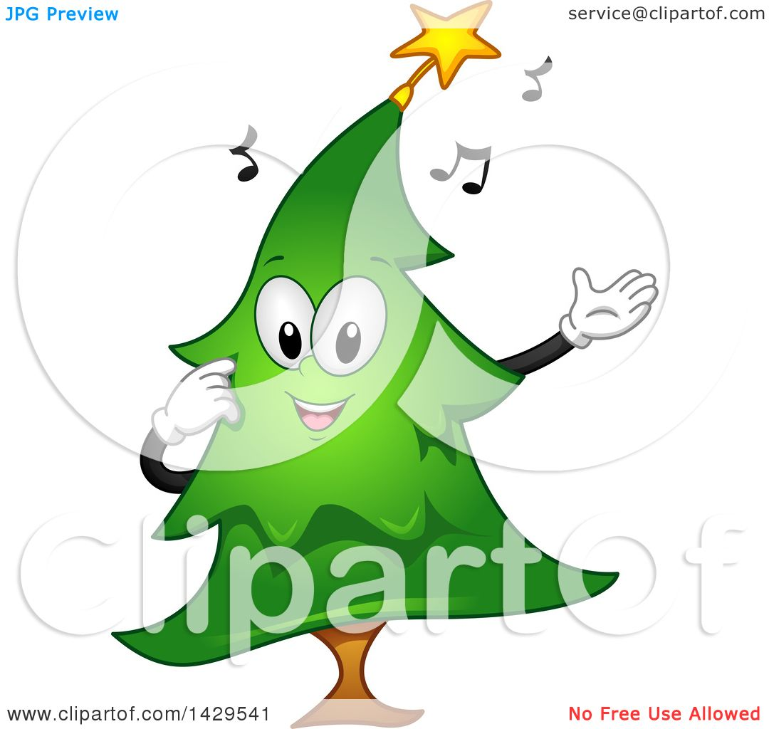 cbd42eb23d9dd Clipart of a Singing Christmas Tree - Royalty Free Vector Illustration by  BNP Design Studio