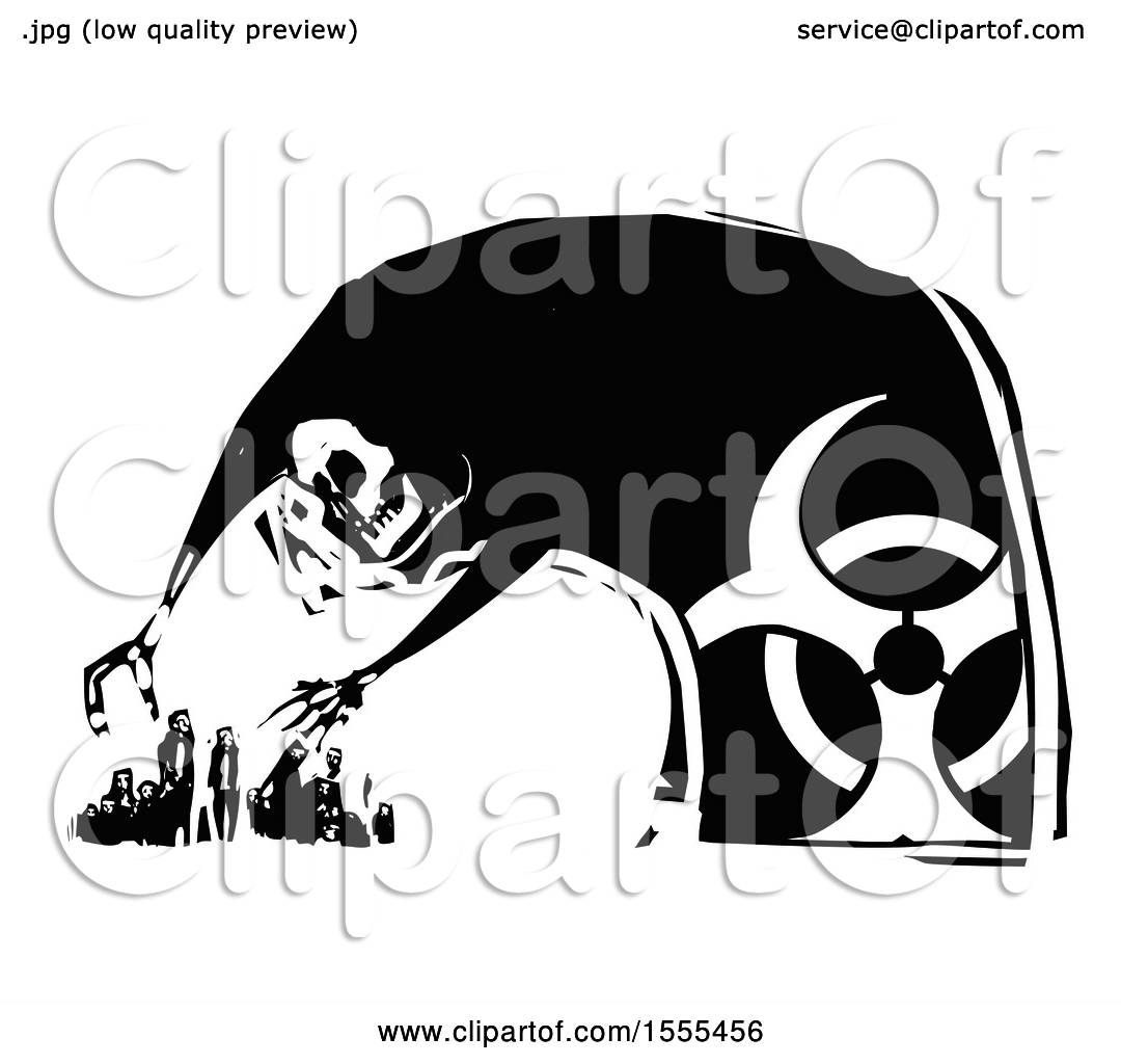 Clipart of a skeleton death with a biohazard symbol hovering over clipart of a skeleton death with a biohazard symbol hovering over people and ready to grab them royalty free vector illustration by xunantunich buycottarizona Images