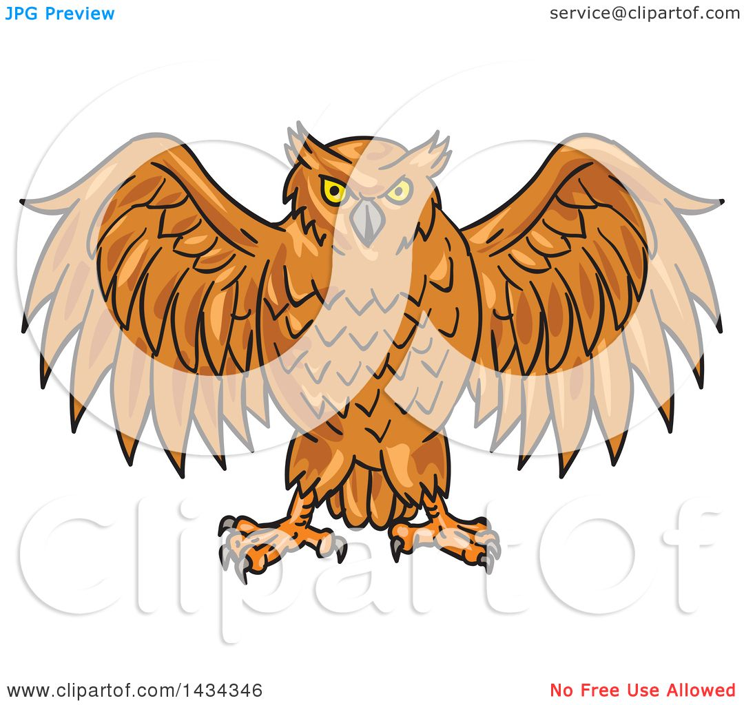 Clipart of a Sketched Angry Owl with His Wings Open ...