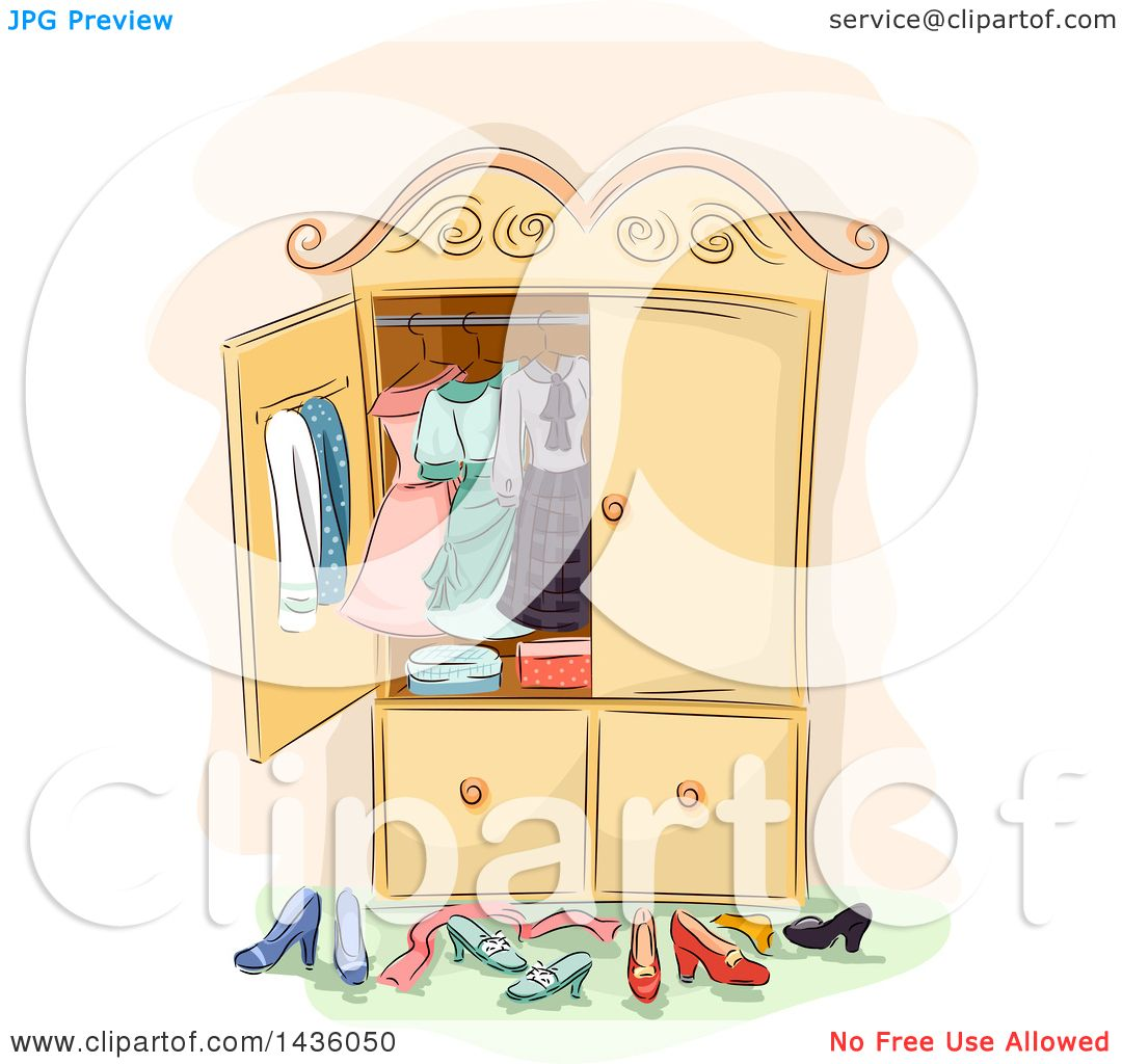 Clipart of a Sketched Antique Wardrobe Cabinet with Clothing and ...