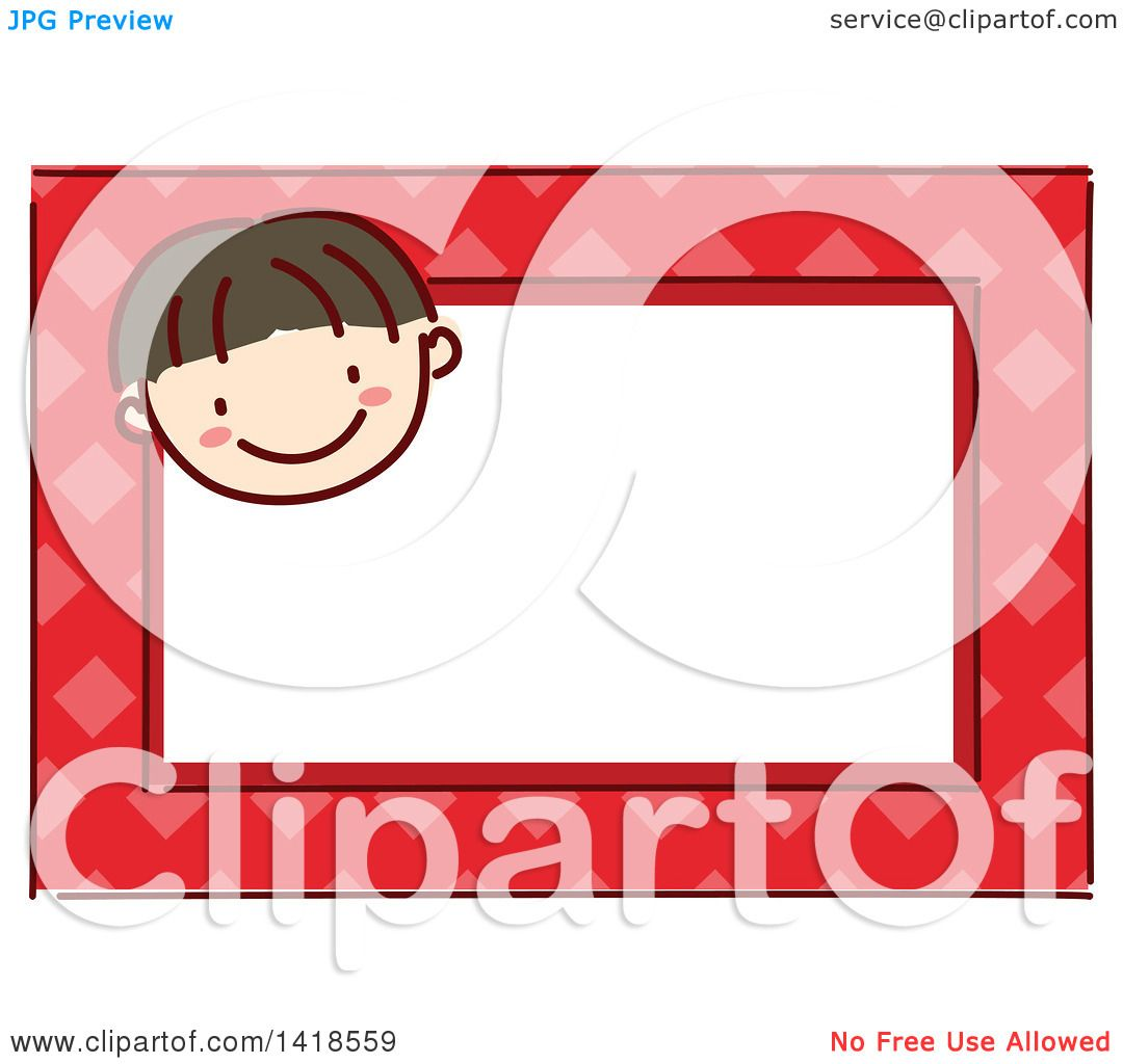 Boys Premium Name Labels: Clipart Of A Sketched Asian Boy's Face On A Red Name Tag
