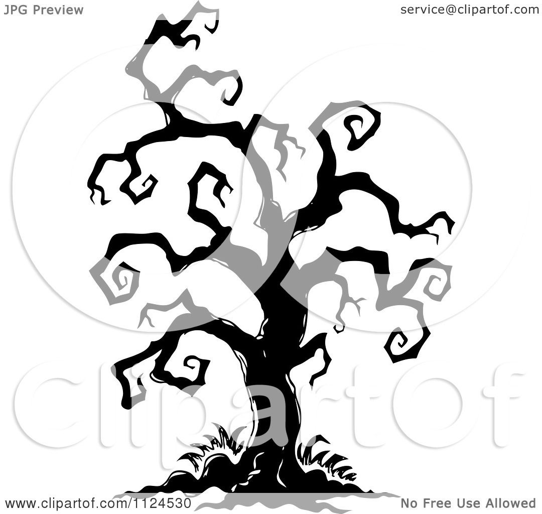 clipart of a sketched black and white creepy bare halloween tree