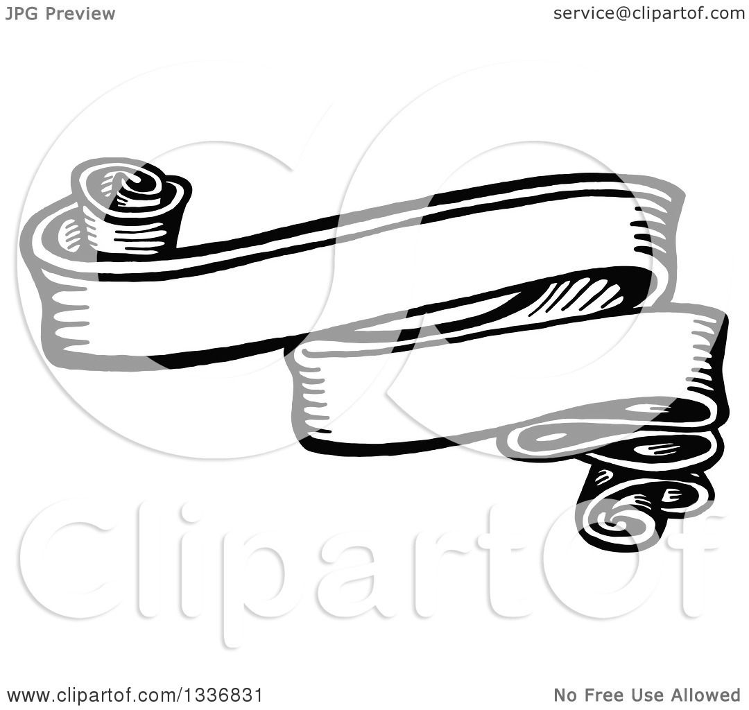 Clipart of a Sketched Black and White Doodle of a Vintage ...