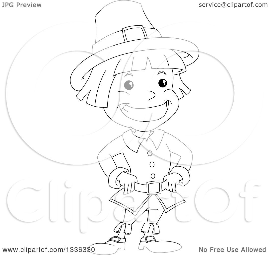 Clipart of a Sketched Black and White Grinning Pilgrim Boy ...