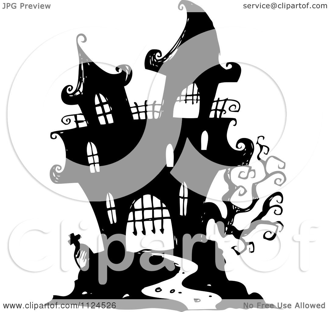 clipart of a sketched black and white haunted halloween mansion
