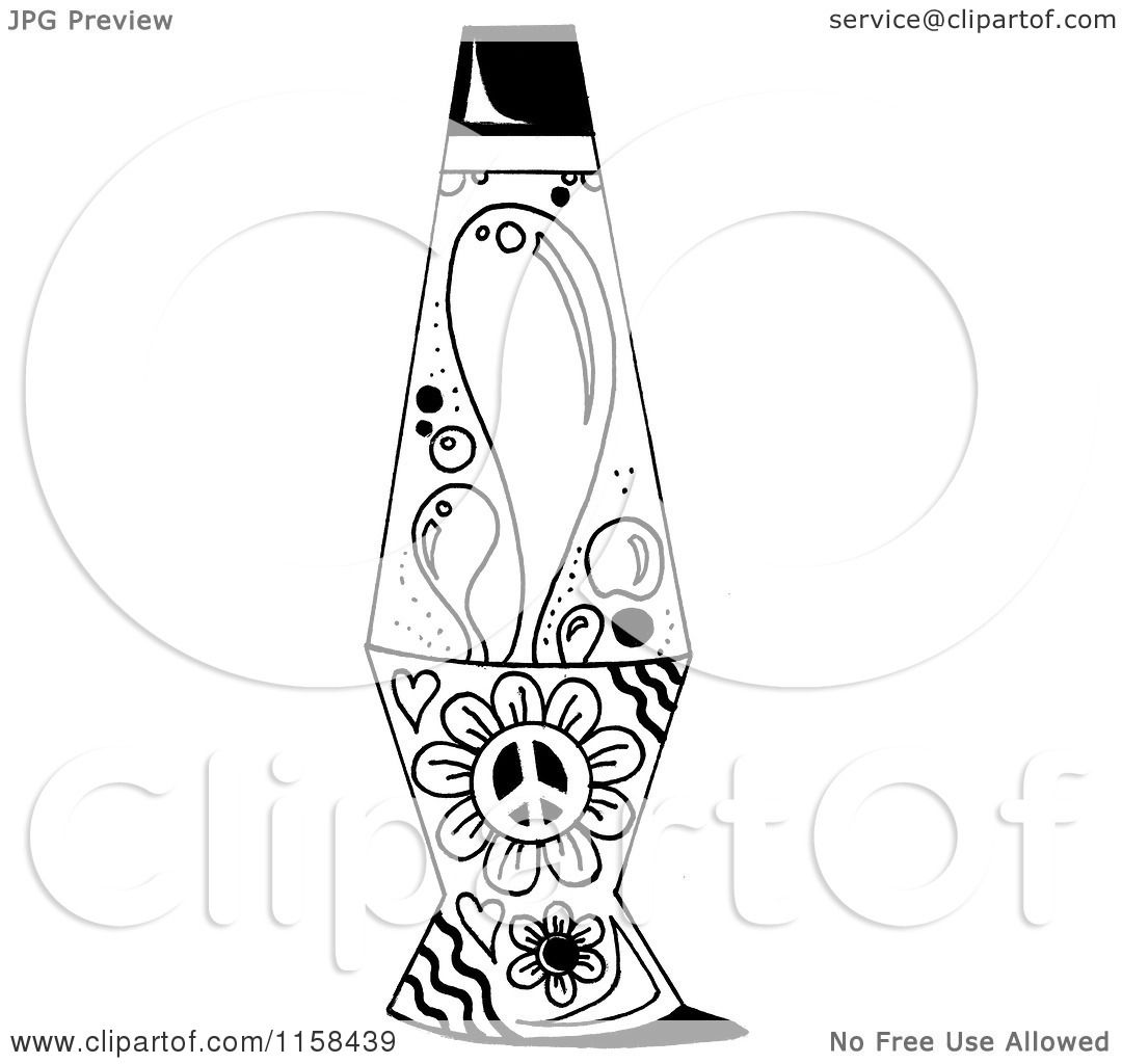 Clipart of a Sketched Black and White Lava Lamp - Royalty Free ... for Clipart Lamp Black And White  55jwn