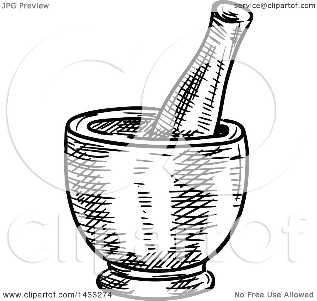 Clipart of a Sketched Black and White Mortar and Pestle - Royalty ...