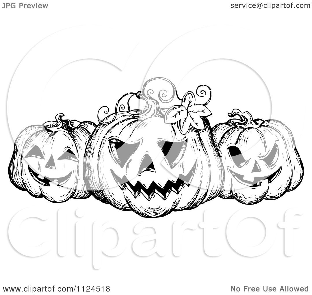Clipart Of A Sketched Black And White Trio Of Grinning ...
