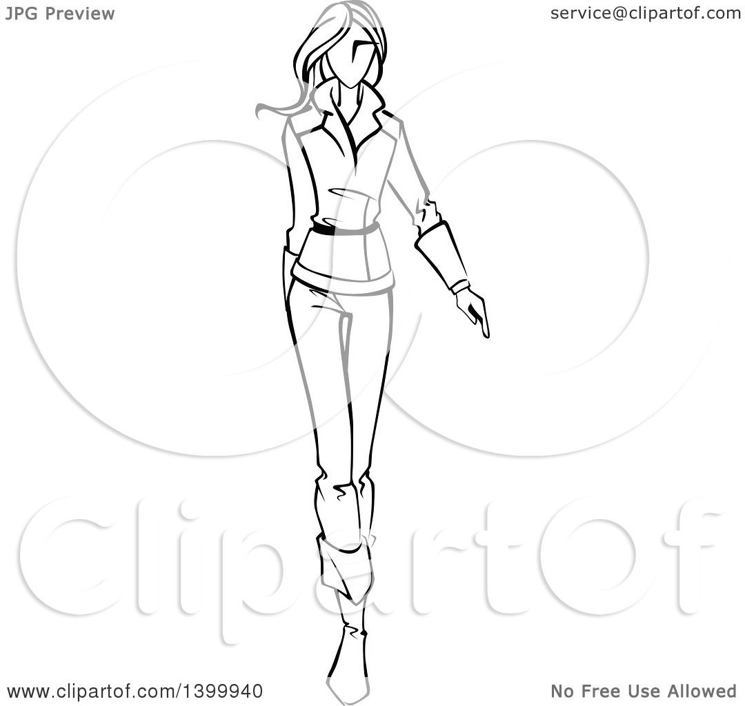 Clipart of a Sketched Black and White Walking Runway Fashion Model ...