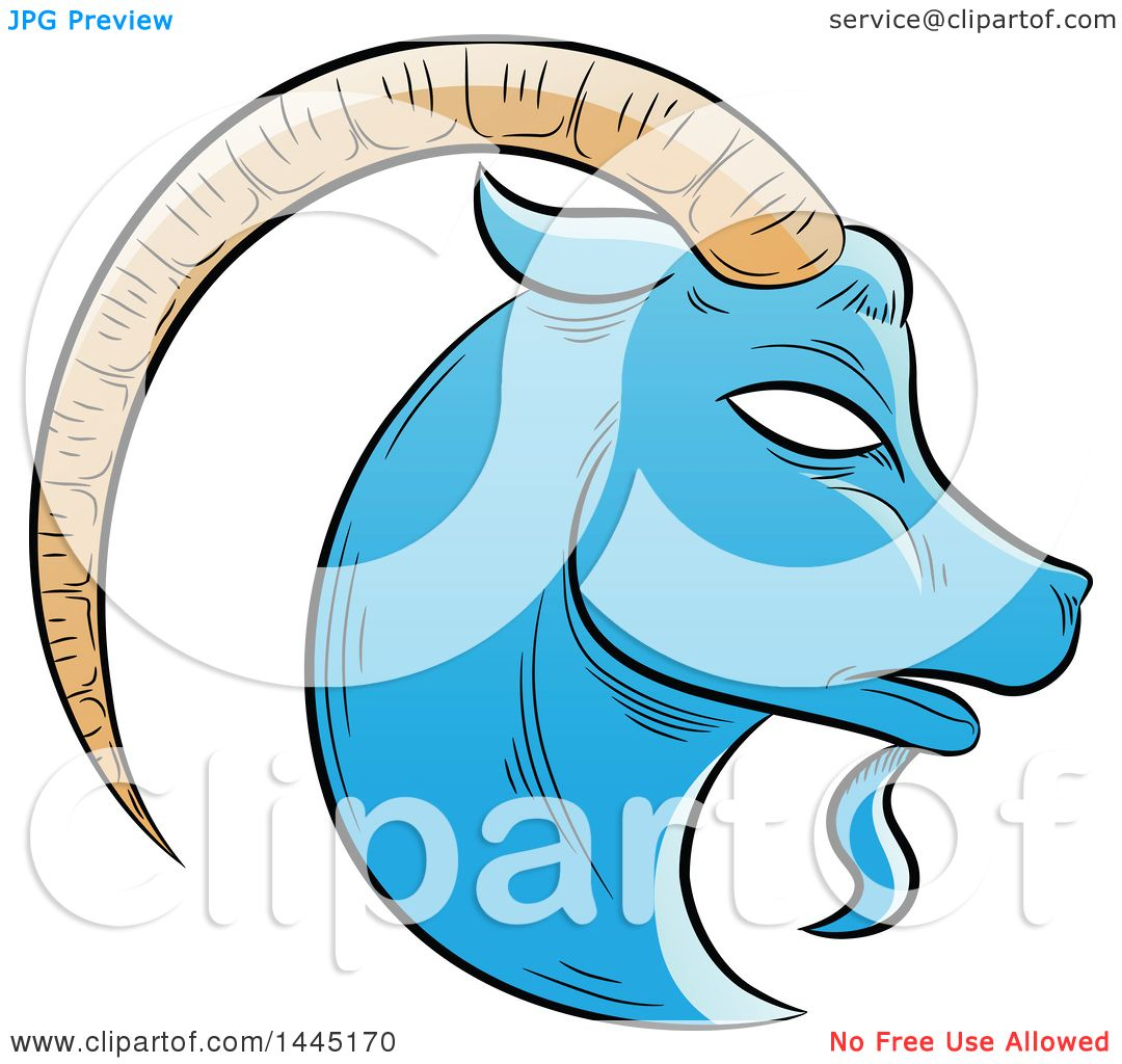 Clipart Of A Sketched Blue Astrology Zodiac Capricorn Goat Head In Profile