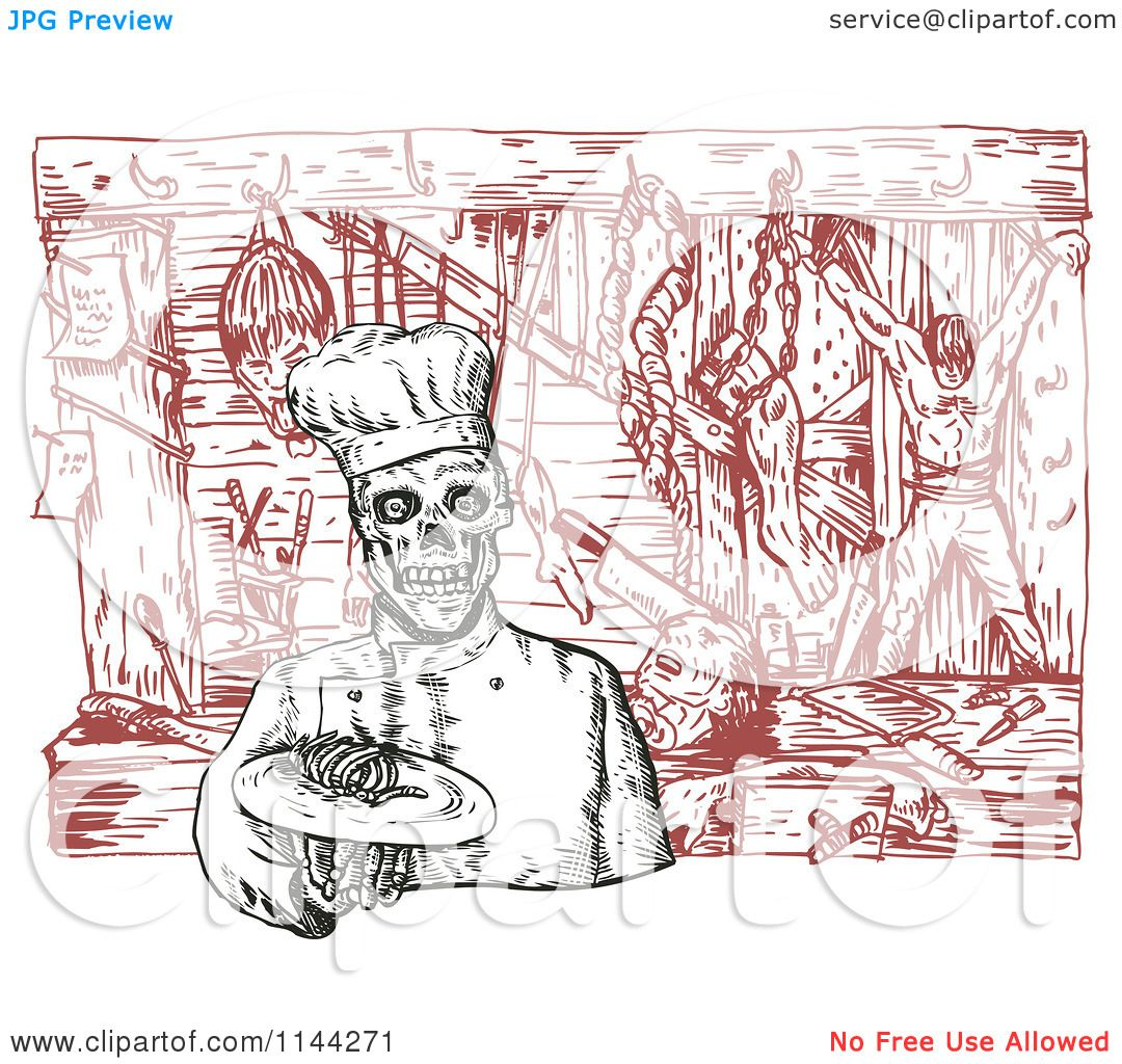 Clipart of a Sketched Chef Skeleton with Dead Bodies