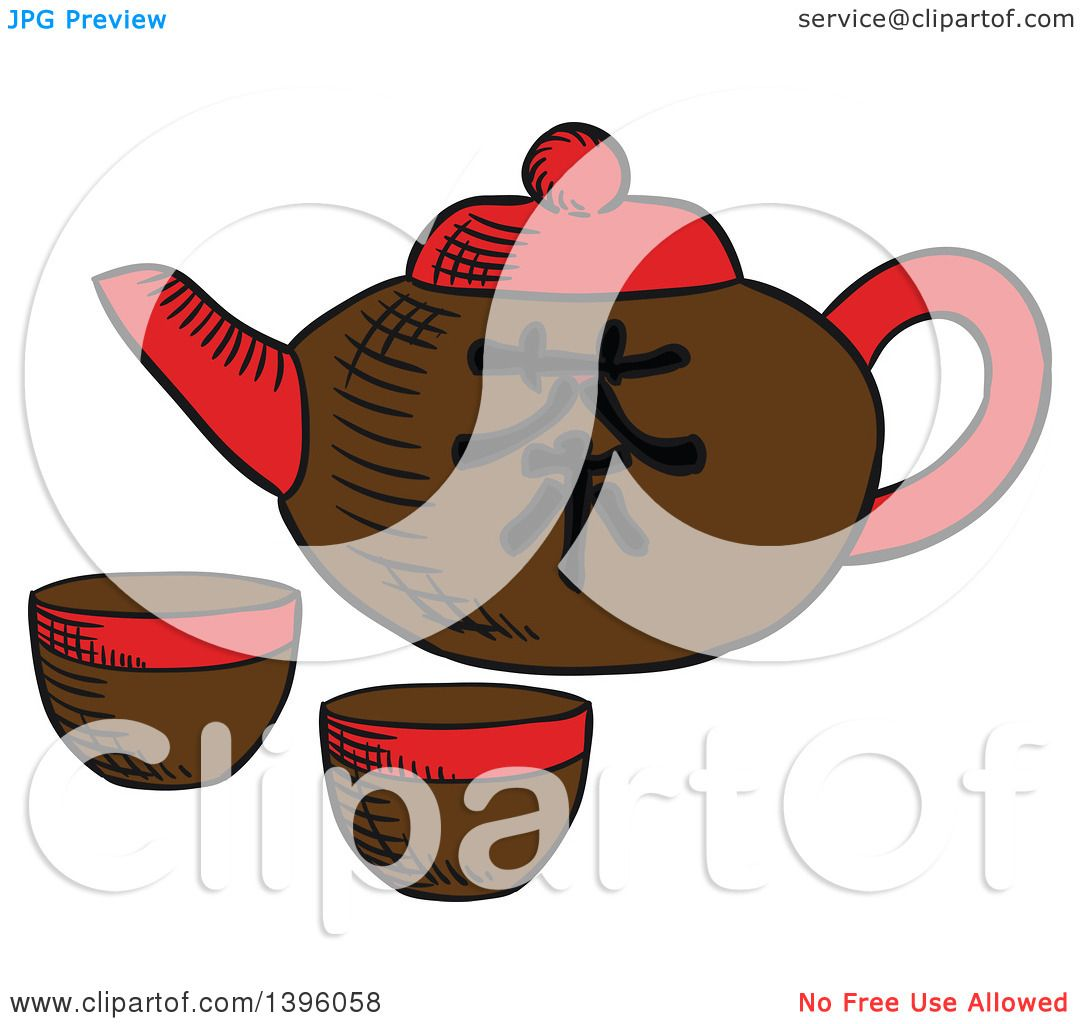 Clipart of a Sketched Chinese Tea Pot and Cups - Royalty ...