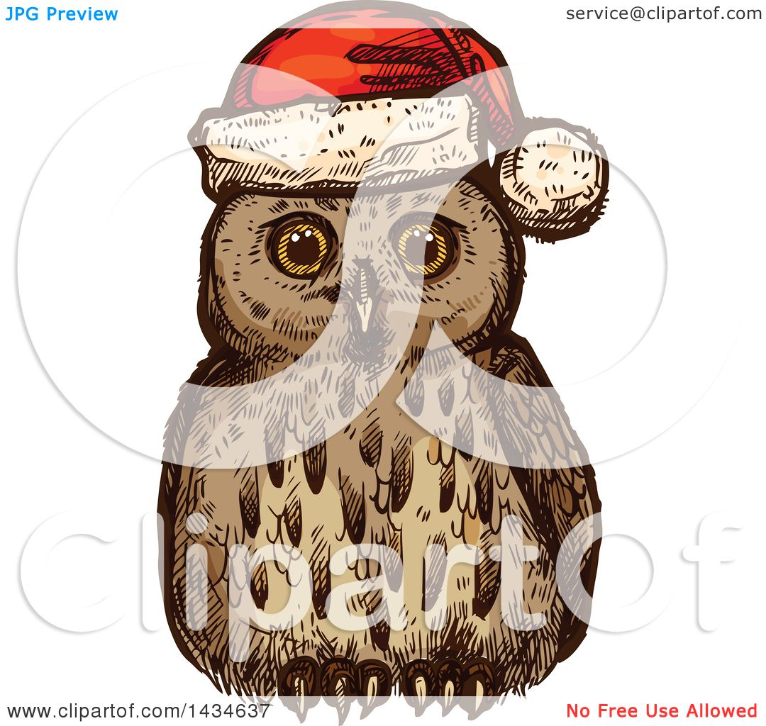 Clipart of a Sketched Christmas Owl Wearing a Santa Hat