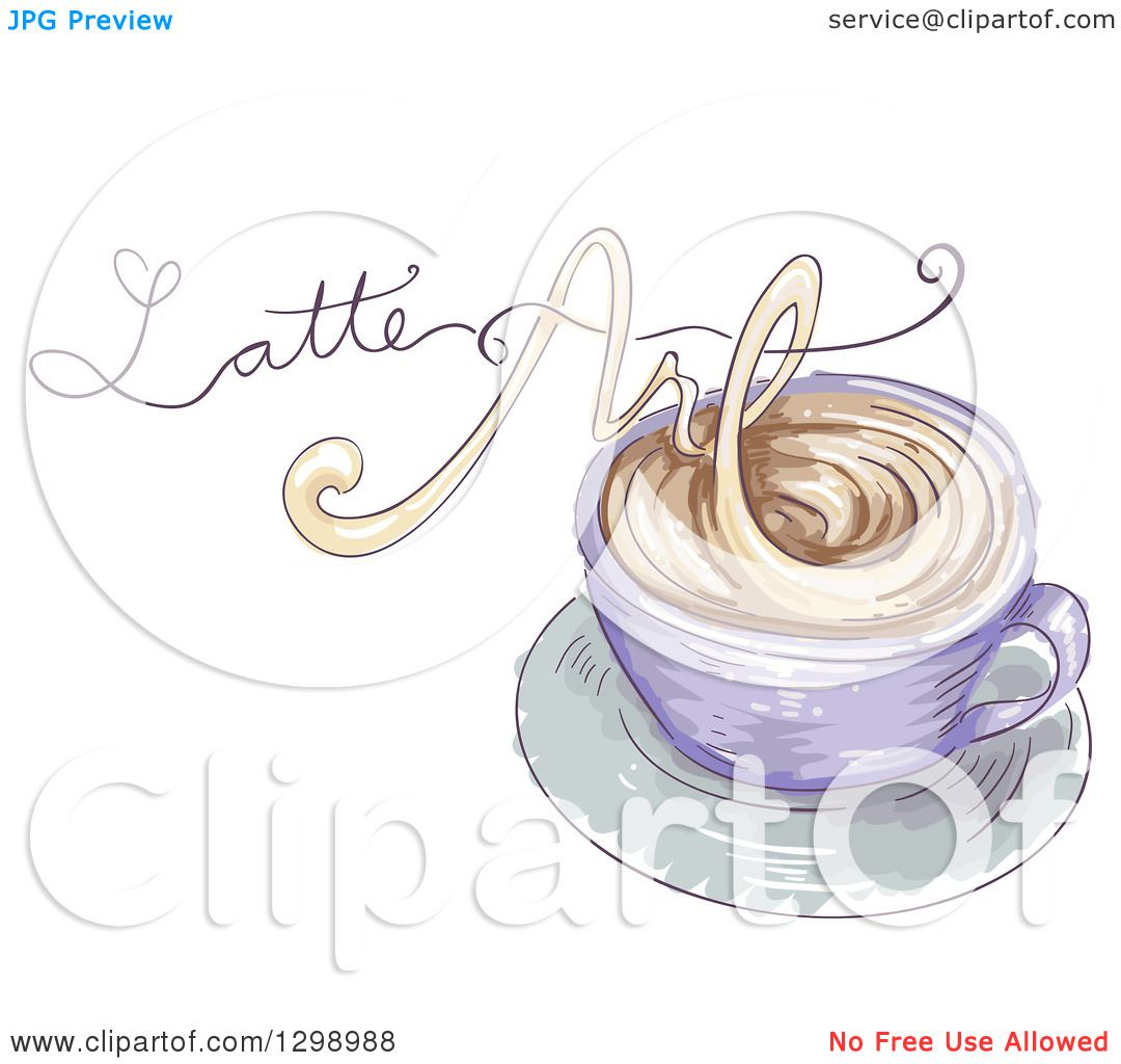 Clipart Of A Sketched Coffee Cup With Latte Art Text Made