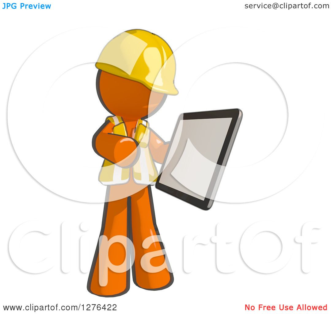 Clipart Of A Sketched Construction Worker Orange Man In Vest Using Tablet Computer 2
