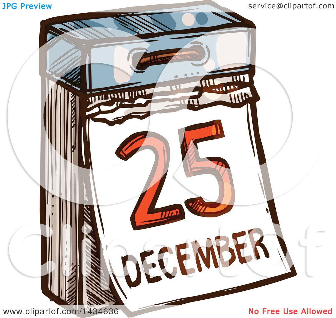 Christmas Calendar Illustration : Clipart of a sketched december christmas calendar