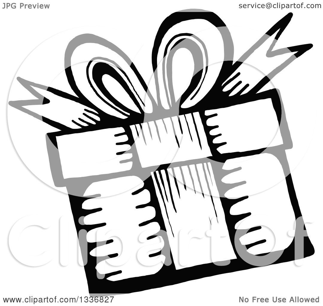 Clipart of a Sketched Doodle of a Black and White Birthday Gift ... for Birthday Gift Clipart Black And White  589hul