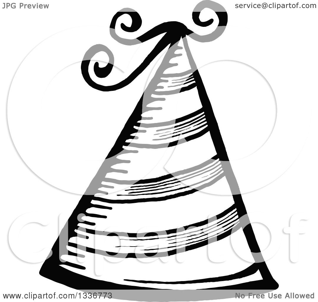 Clipart of a Sketched Doodle of a Black and White Party Hat ... for Party Hat Clipart Black And White  54lyp