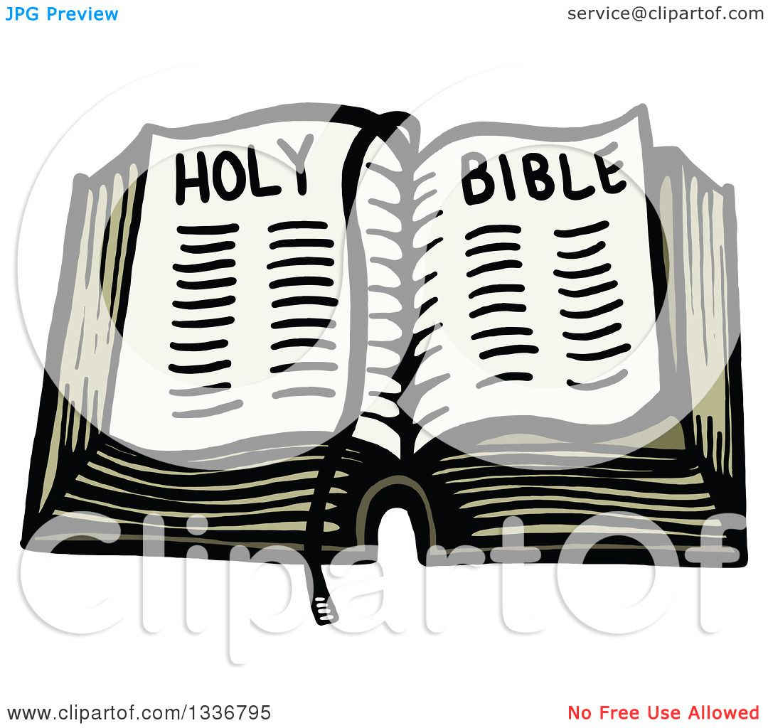 clipart of a sketched doodle of an open holy bible royalty free