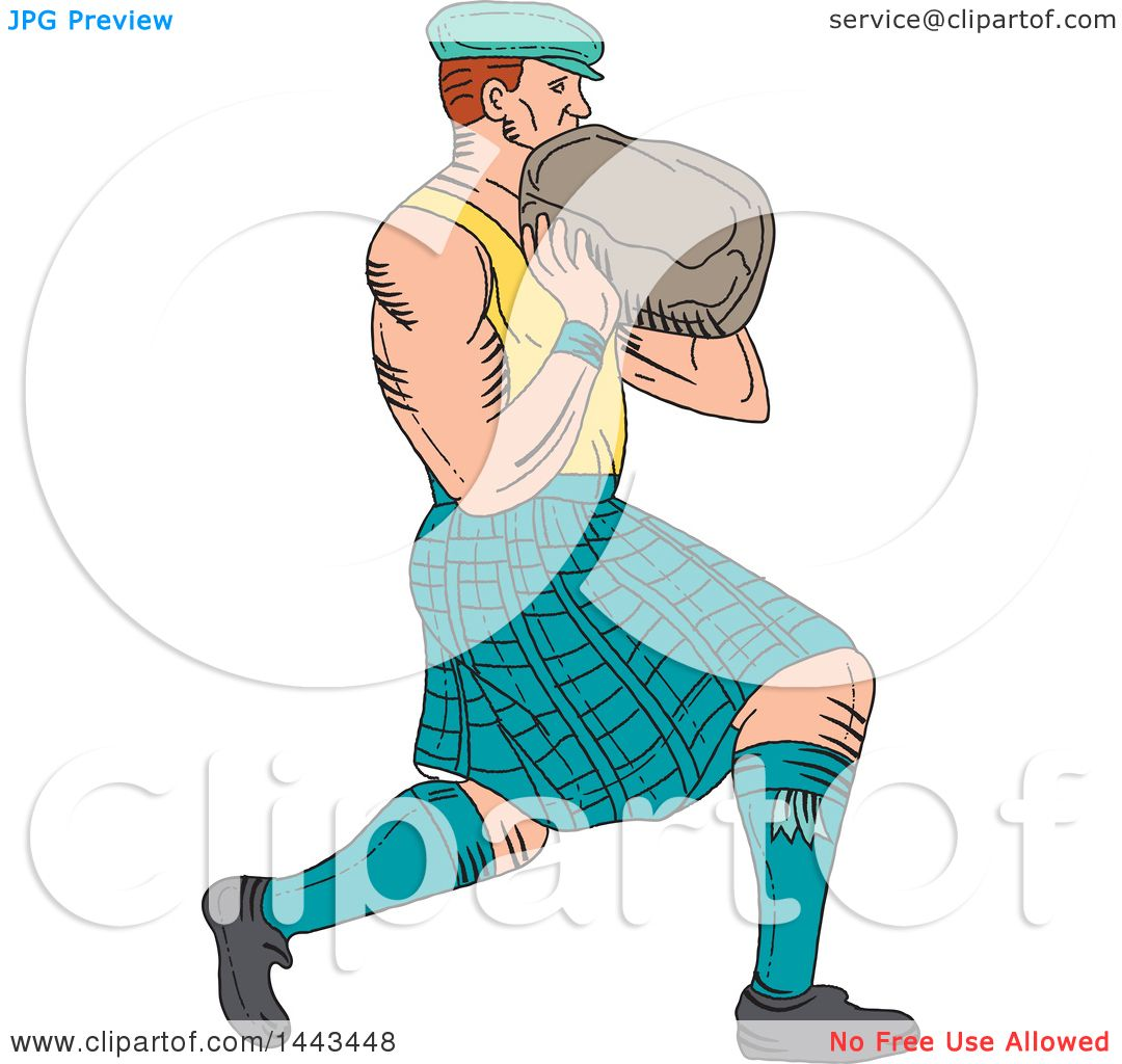 Clipart of a Sketched Drawing Styled Scotsman Athlete Wearing a ...