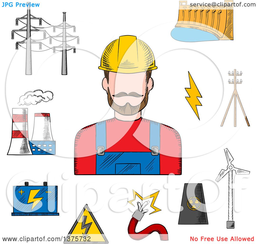 Clipart of a Sketched Electric Station, Hydro and Wind Energy ...