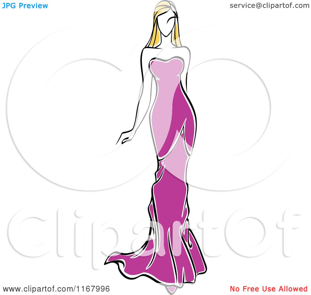Clipart of a Sketched Fashion Model Walking in a Purple - Fashion Dress Sketches Black And White