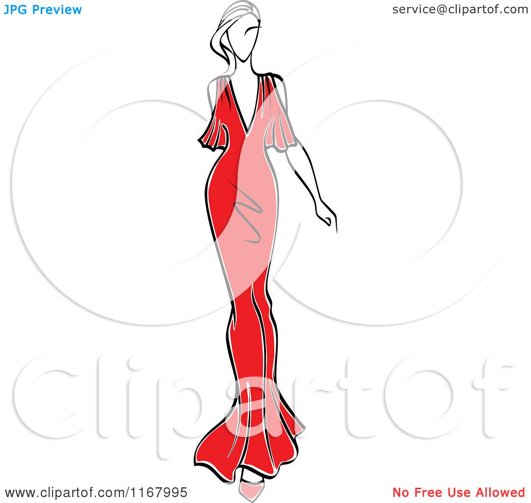 Clipart of a Sketched Fashion Model Walking in a Red Dress 3 ...