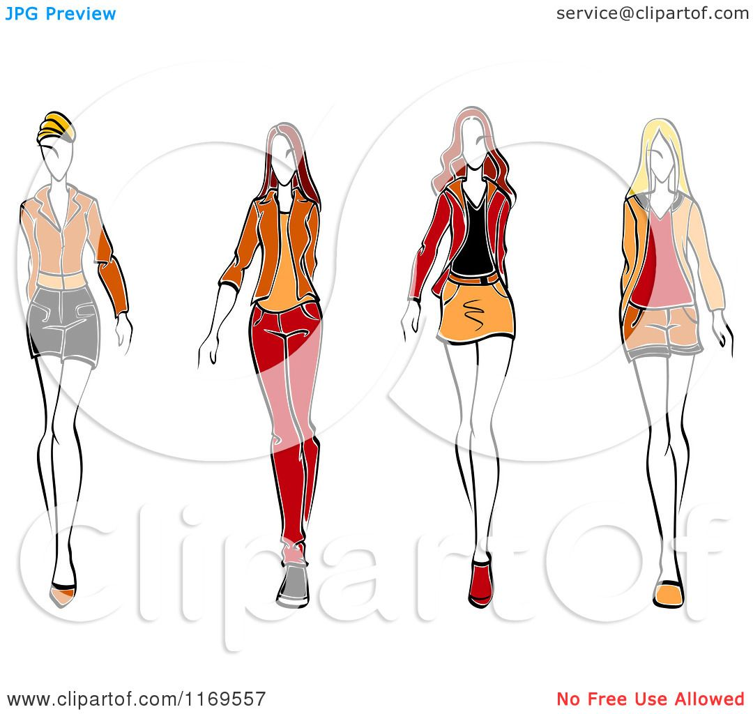 Clipart of a Sketched Fashion Models Walking 2 - Royalty Free ...
