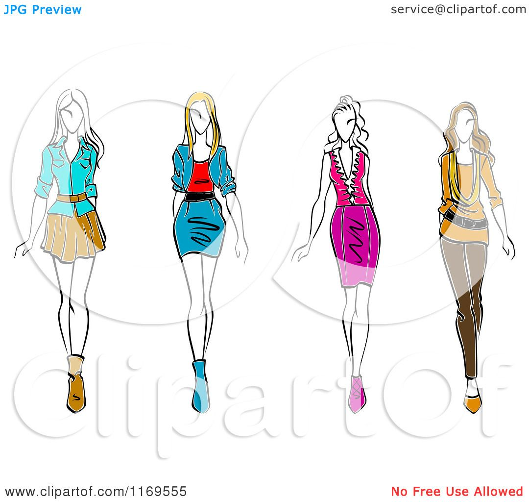 Clipart of a sketched fashion models walking royalty - Clipart illustration ...