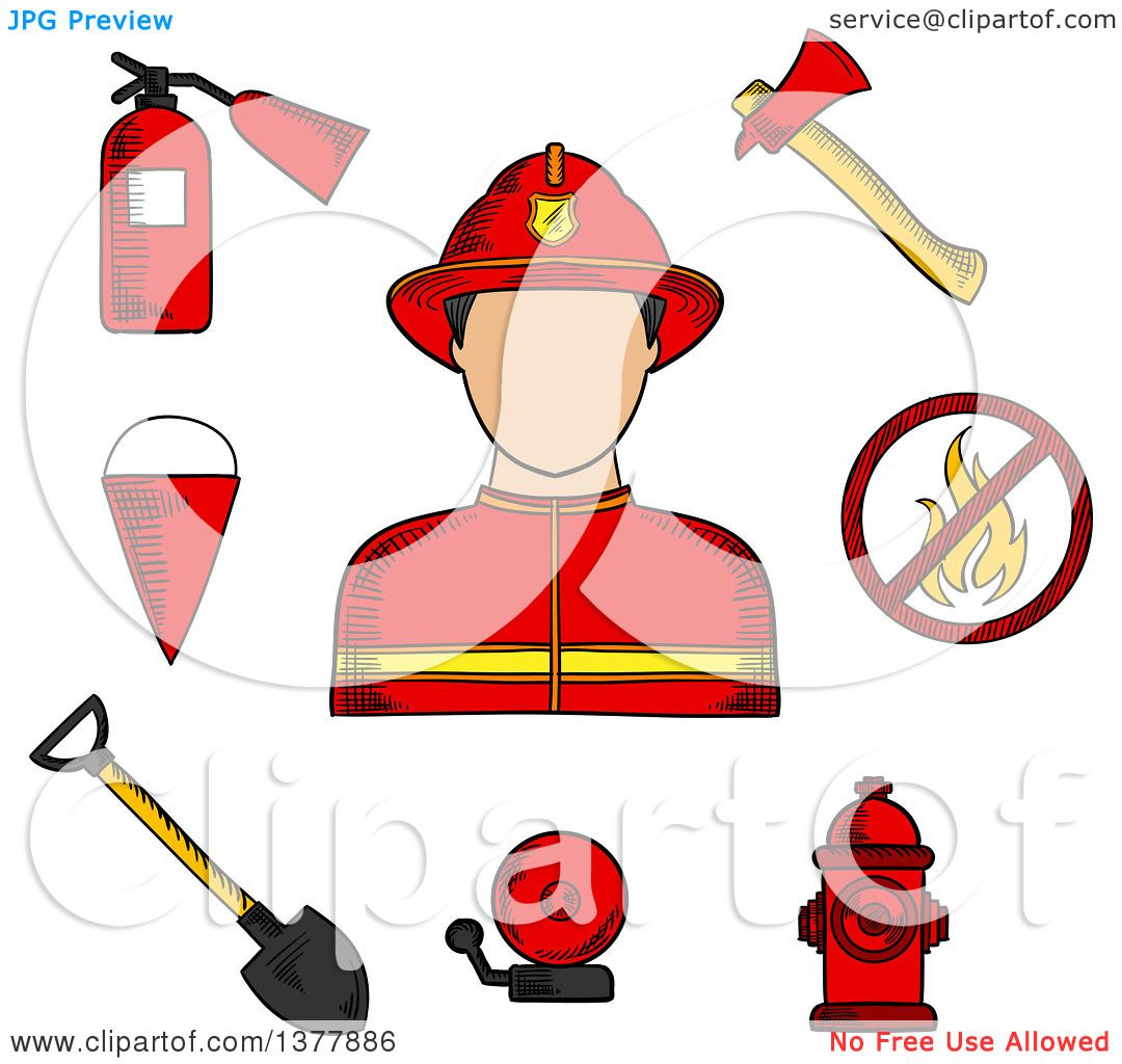 Clipart of a Sketched Fireman Flanked by Fire Axe, Bucket and ...