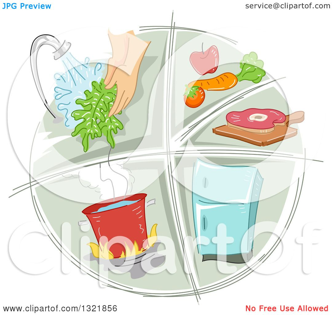 Clipart of a Sketched Food Preparation and Sanitation Icon ...