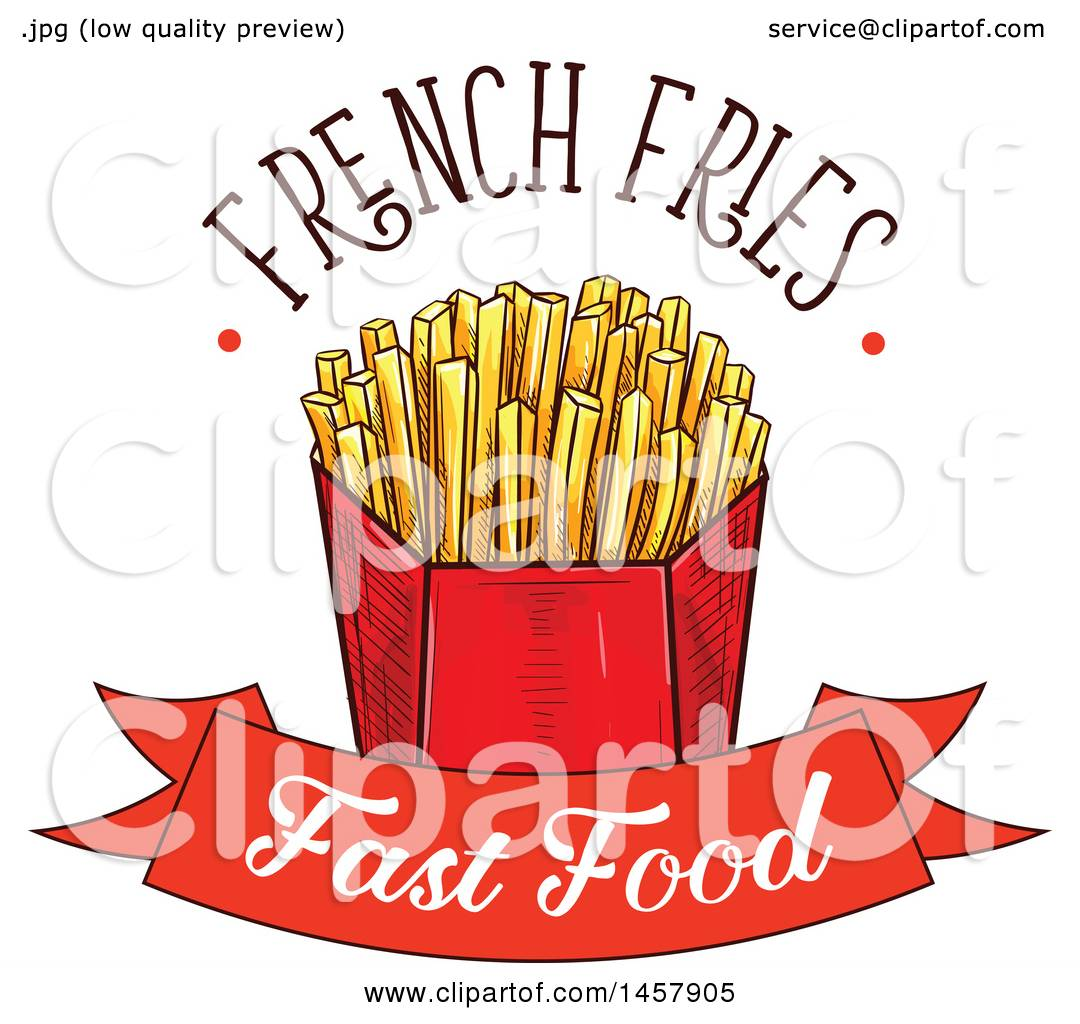 Clipart Of A Sketched French Fries Design