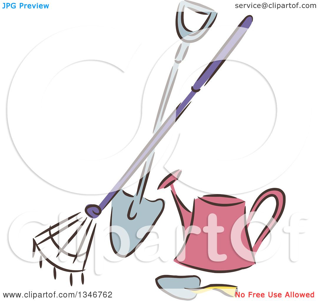 Illustrations Of A Trowel : Clipart of a sketched garden rake shovel trowel and