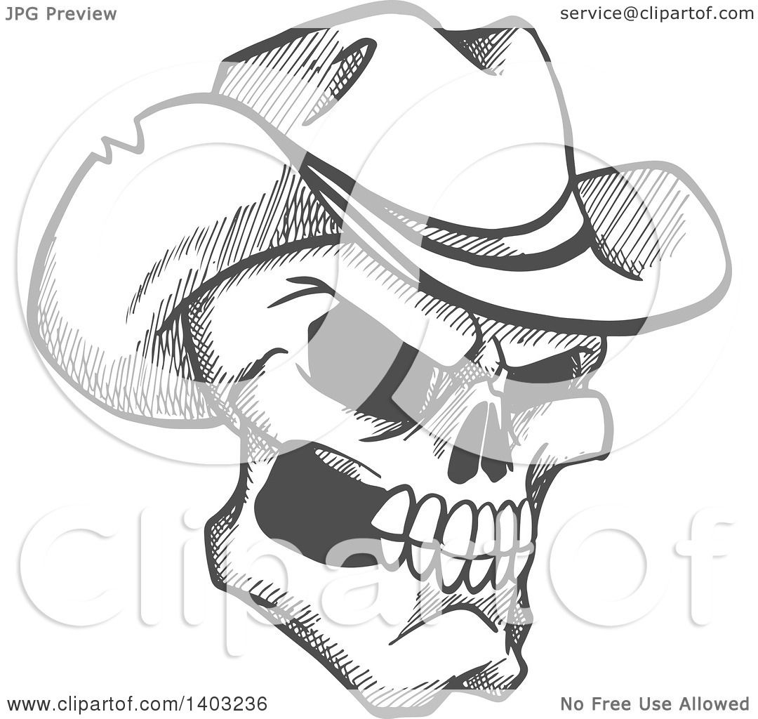 Clipart of a Sketched Gray Human Skull Wearing a Cowboy Hat - Royalty Free  Vector Illustration by Vector Tradition SM 190592efb723