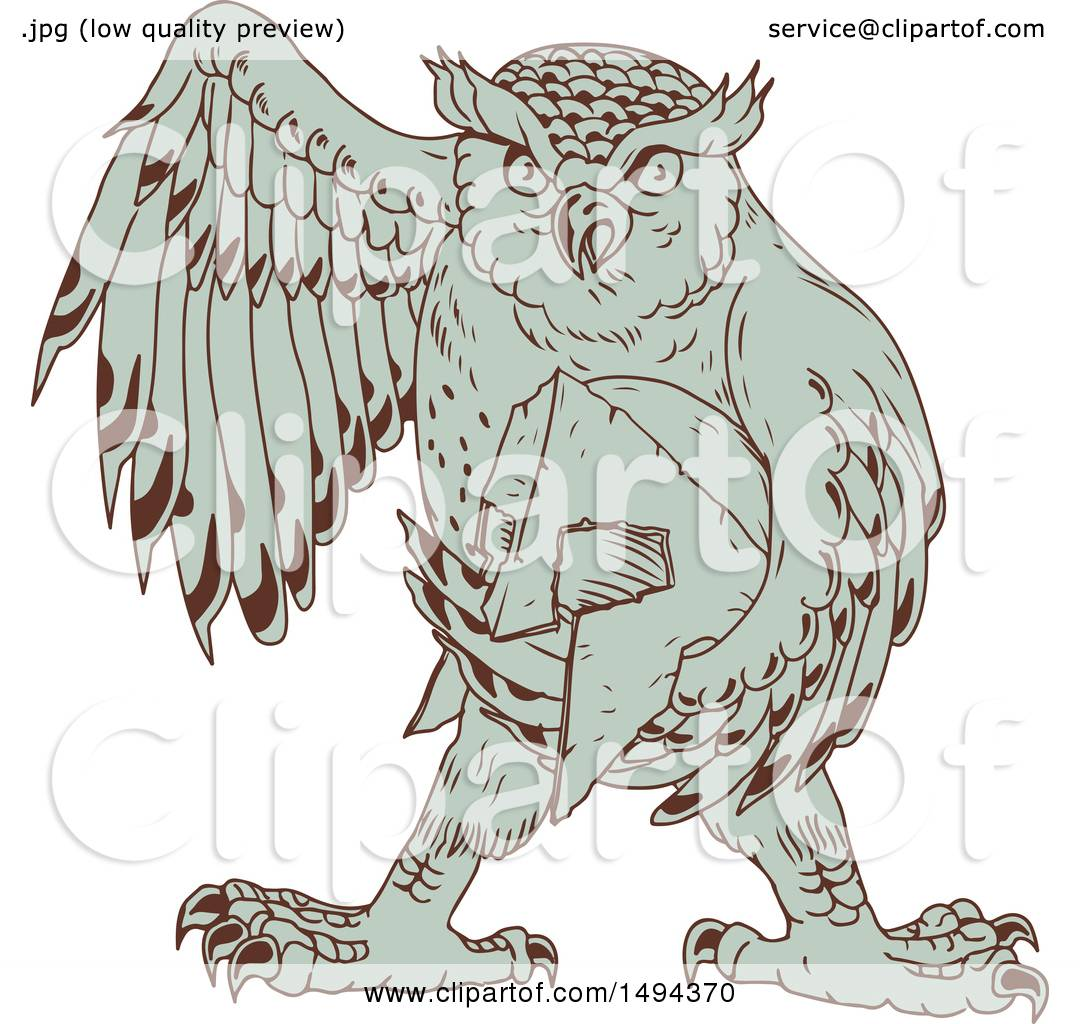 Clipart of a Sketched Great Horned Owl Holding a Spartan ...