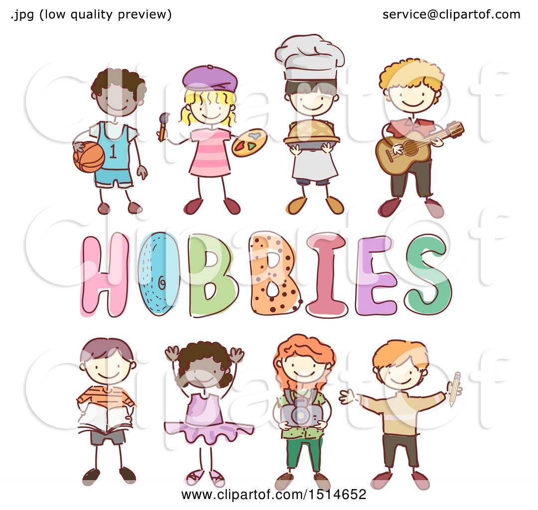 Clipart Of A Sketched Group Of Children Around Hobbies Text Royalty Free Vector Illustration By Bnp Design Studio 1514652