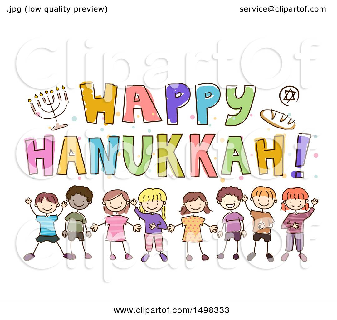 Clipart Of A Sketched Group Of Children Under A Happy Hanukkah
