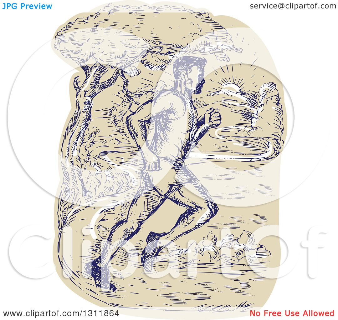 Clipart Of A Sketched Male Marathon Runner On A Park Path Royalty